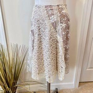 Anthro Basil & Maude Lace & Sequin A-line Skirt